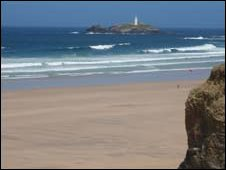 (The beach and lighthouse which were Woolf's inspiration)